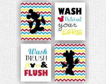 mickey mouse and minnie mouse bathroom wall art wash brush floss flush disney bathroom