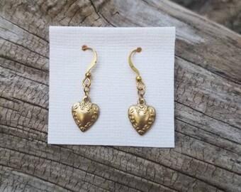 Golden Heart Earings
