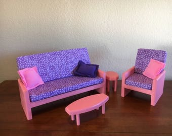 "Pink living room, AG doll furniture, 18 in doll furniture, 18"" living room, 18"" doll couch, AG living room, doll chair, doll tables"