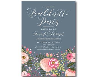 Floral Bachelorette Party Invitation, Printable Bachelorette Party Invitation, Printable Floral Invitation, Bachelorette Party #CL126