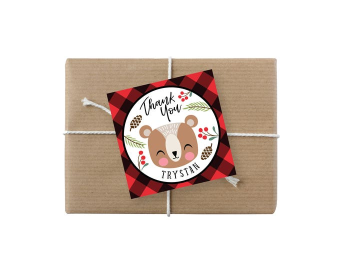 Baby Bear Lumberjack Birthday Favor Tag  - Gift Tag, Hang Tags, Thank You Tags, Printable, bear, buffalo plaid, wood, Woodland Lumberjack