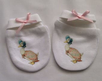 Beatrix Potter Jemima puddleduck inspired Baby Scratch Mitts/mittens