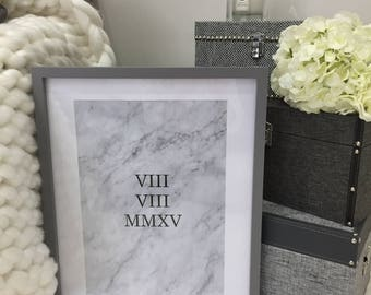 Marble home print, special date, wedding date, roman numeral print