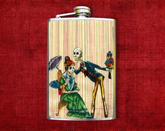 Flask 8oz Skeleton Couple #309