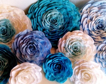 10 giant large Paper Flowers Mermaid mint teal Turquoise blue aqua tiffan Wall bridal boy baby shower baptism backdrop Wedding party prince