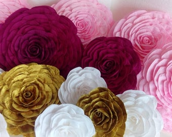 10 Pink gold burguny giant crepe paper Flowers kate bridal baby shower spade wine red WEDDING party decor Wall arch paper backdrop nursery