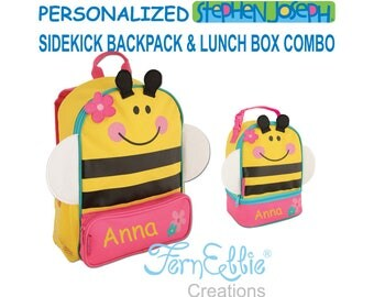 Personalized Stephen Joseph BEE Sidekick Backpack and Lunch Pal Combo, Kids Backpack, Kids Lunch Box.