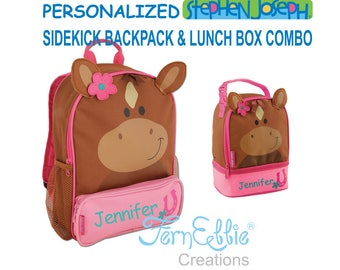 Personalized Stephen Joseph HORSE Sidekick Backpack and Lunch Pal Combo, Kids Backpack, Kids Lunch Box.