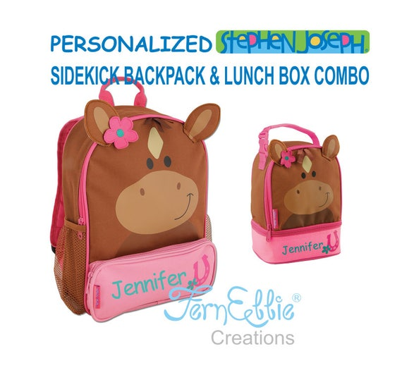 Personalized Stephen Joseph HORSE Sidekick Backpack and Lunch Pal Combo.