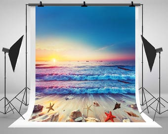 Sunrise  Afterglow Colorful Waves Beach Shells Photography Backdrops Newborn Baby Photo Backgrounds for Beautiful Landscape Studio Props