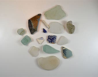 Collection of sea glass and pottery