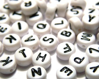 Alphabet letter bead etsy for Round metal letter beads