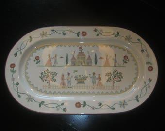 """Vintage VILLEROY & BOCH American Sampler Oval Platter ~ 15.5"""""""
