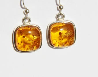 genuine amber earrings on 925 Silver