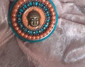 cabochon embellishment Buddha bronze resin wood and beads