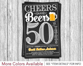 Cheers and Beers to 50 Years Birthday Invitation | 30th, 40th, 50th Surprise Birthday Party