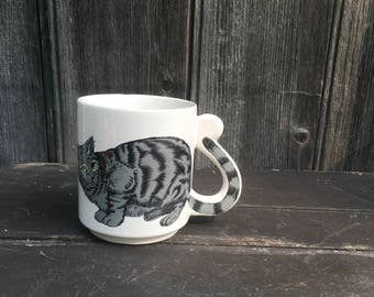 Gray cat vintage coffee mug with tail handle