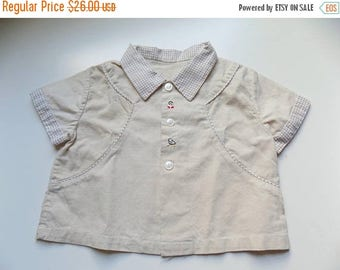 50s Button Down Country Western Boys Top with Chickadees Embroidered Size 2 - 3T