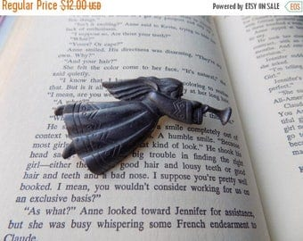 80s Angel Brooch, Pewter, Christmas, Holiday, Angel and Trumpet, Brooch, Pin, Vintage Jewelry, 1980s, Vintage Brooch, Vintage Christmas