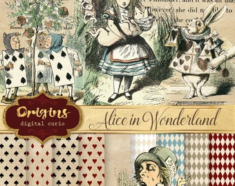 Alice in Wonderland Clipart, Vintage Illustrations, Backgrounds, digital instant download Alice's Adventures, Through the Looking Glass