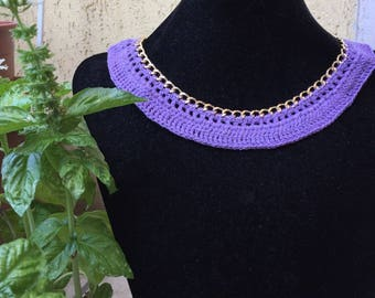 Lilac necklace with golden chain
