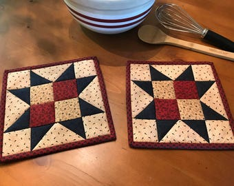 Kitchen Pot Holders / Quilted Potholders / Country Decor / Handmade /Patriotic Decor / Americana / Item #2083