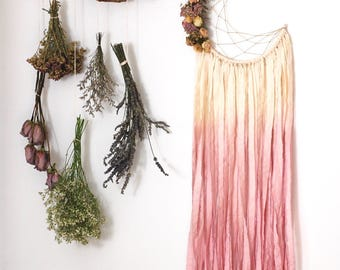 White and Pink Moon Dream Catcher with Dried Flowers