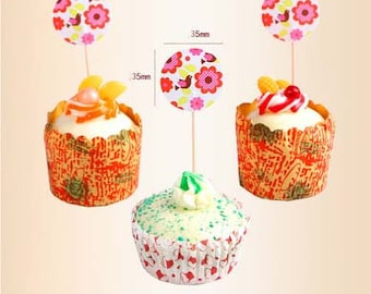 12pcs flower Cupcake Toppers