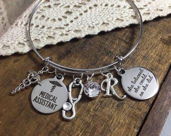 medical assistant graduation bracelet, gift for medical assistant, she believed she could so she did charm bracelet, MA graduation jewelry
