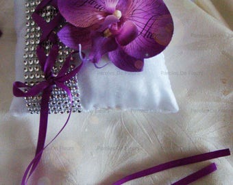 wedding corset, rhinestone and customize Orchid ring cushion