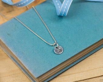 Fine Silver Bird Necklace - Silver Bird Pendant - Bird Charm Necklace - Fine Silver Bird Charm - Fine Silver Bird Necklace - Hand-stamped