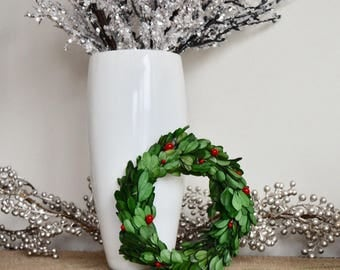 """6"""" preserved boxwood wreath with holly berries"""
