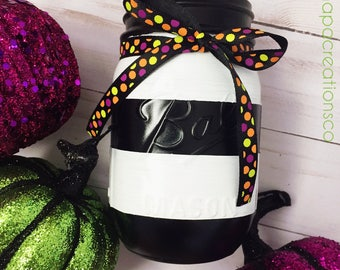 Black and White Striped Halloween Mason Jar / Halloween Ribbon