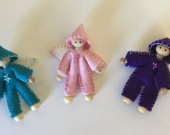 set of three - purple, pink and turquoise pixies , fairies, elves