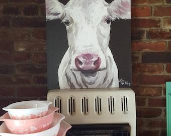 Canvas Cow Art, Cow art Print 'Mabel', Cow canvas art,  Cow decor from original cow on canvas painting, farmhouse decor