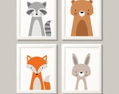 Woodland animal prints, woodland nursery, woodland print set, bear, fox, raccoon, nursery prints, nursery decor, kids bedroom, kids decor.