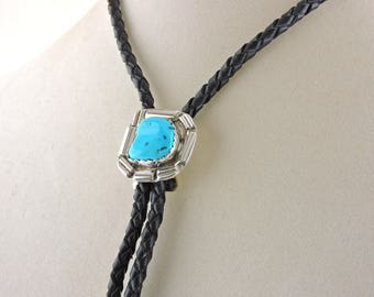 """36"""" Black Leather Bolo Tie Wtih Sterling Silver And Turquoise Slide"""