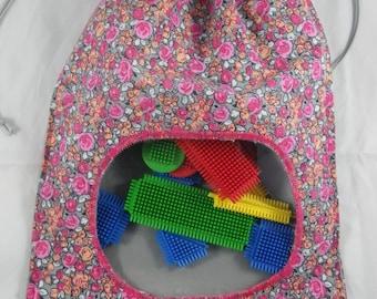 Pochette012 - Pouch / bag pink and grey liberty porthole