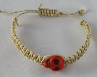 Bra010 - Beige shamballa with Red Skull Bracelet