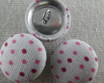 Boutons001 - Gray and pink polka dots and purple buttons