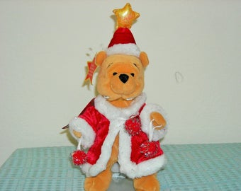 """Disney Japan Beanbag Plush """"Lite Up Tinsel Pooh""""/Carrying Ornaments/Star on Head Lights up! Special Holiday Japan Tag!"""