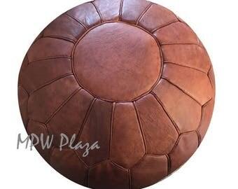 Retro Moroccan Leather Pouf/Ottoman