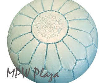 Sale- Light Turquoise Moroccan Leather Pouf/Ottoman