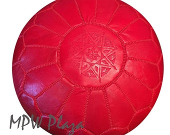 Sale-Red Moroccan Leather Pouf / Ottoman
