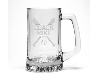 Softball Coach Beer Mug / Free Personalization / Sports Beer Glass / Etched Softball Beer Glass / Personalized Glass / Personalized Gift