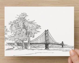 Ink sketch of the Golden Gate Bridge in San Francisco, California