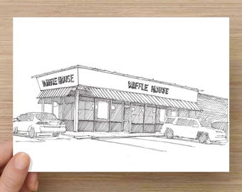 Ink Drawing of Waffle House in South Carolina - Architecture, Restaurant, Coffee, Sketch, 5x7, 8x10,  Print, Art, Illustration, Pen and Ink