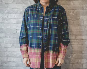Medium blue, green, red and white plaid flannel