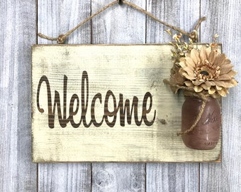 Front Door Welcome Sign - Distressed Welcome Sign - Housewarming Gift - Mason Jar Welcome Sign - Porch Sign - Rustic Front Door Decorations