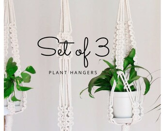 Macrame Plant Hanger, trio modern macrame plant hanger, set of 3, kit of 3, choose your pattern !
